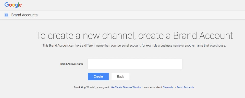 Screenshot of Creating a YouTube Channel for a Brand Account