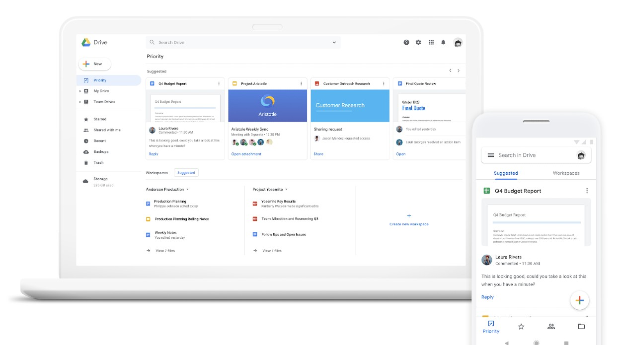 Screenshot of Google Workspace on Laptop and Mobile
