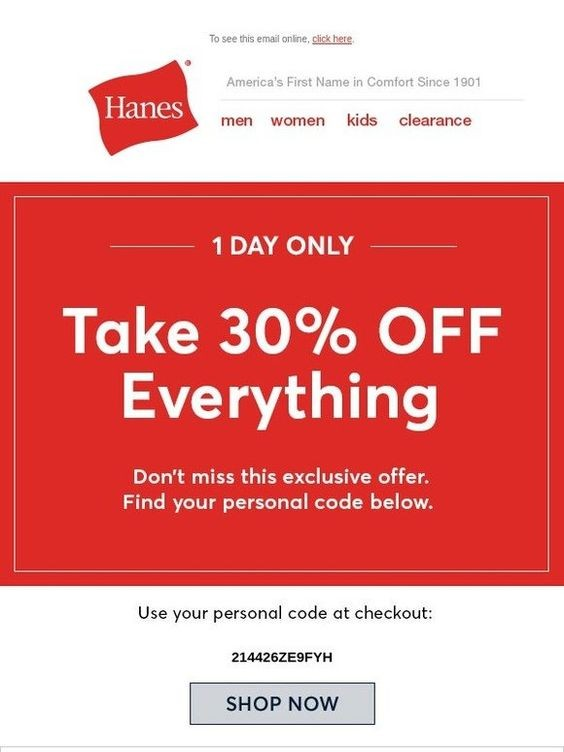 Screenshot of Newsletter Including Personalized Discount