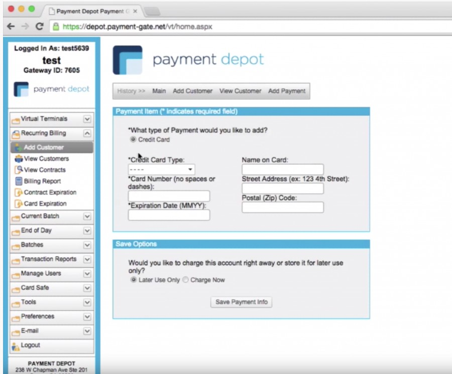 Screenshot of Payment Depot Payment Details