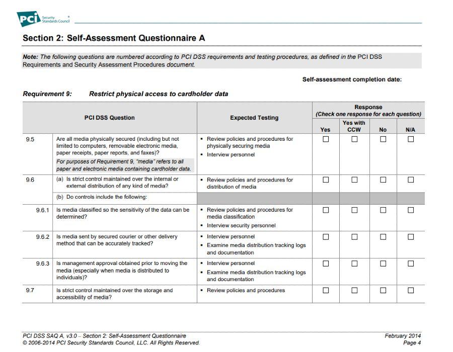 Screenshot of Self-Assessment Questionnaire A