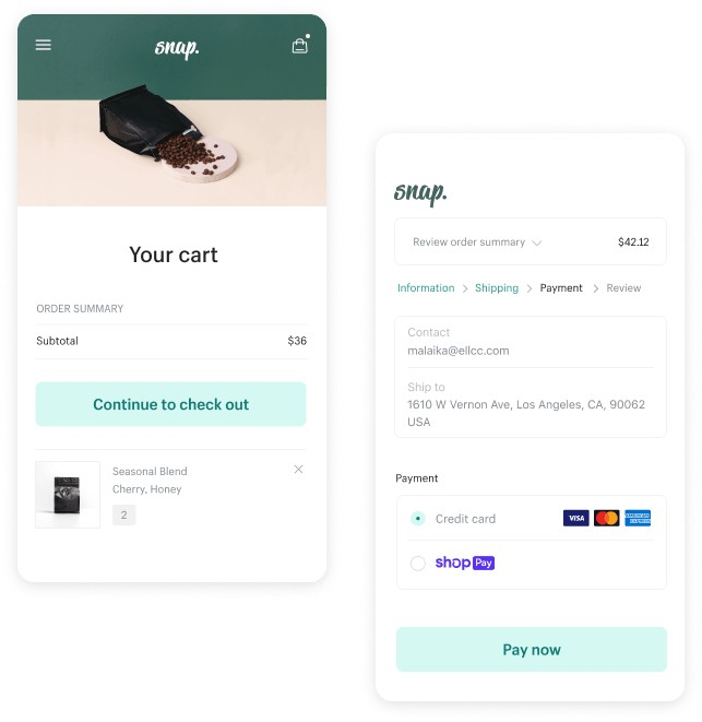 Screenshot of Shopify Checkout Details