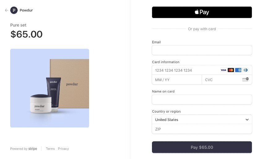Screenshot of Stripe Payment Details