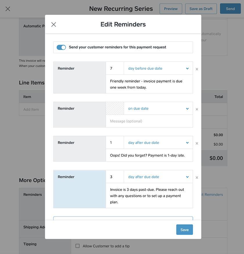 Screenshot of Square edit reminders