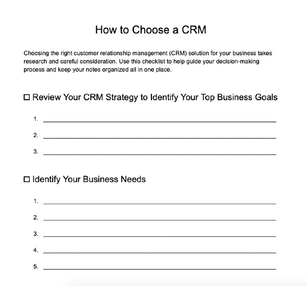 How To Choose a CRM Template