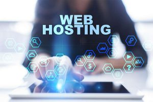 Woman pressing on virtual screen and selecting Web hosting