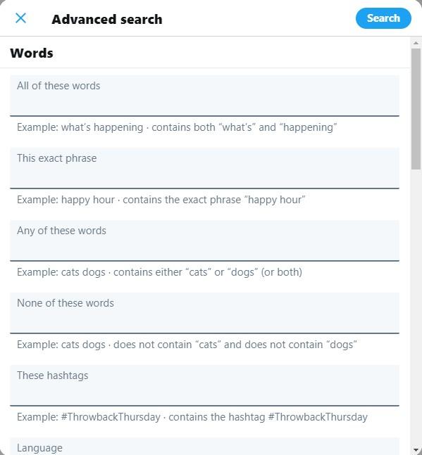 Sceenshot of Twitter Advance Search