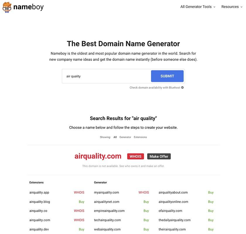 Nameboy domain name generator screenshot