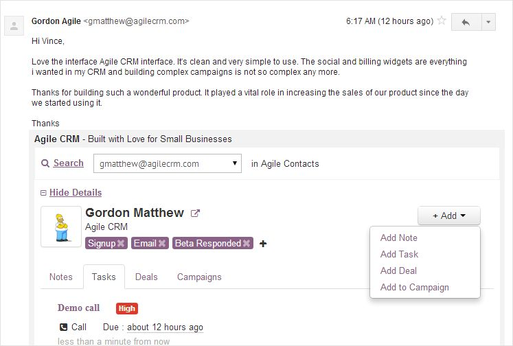 Agile CRM for Gmail