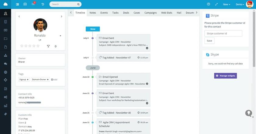 Agile CRM timeline dashboard
