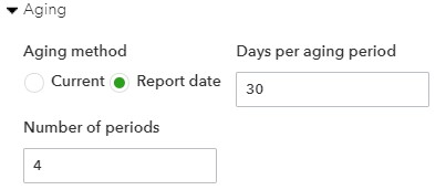 Aging Options for the Receivables Aging Report in QuickBooks Online