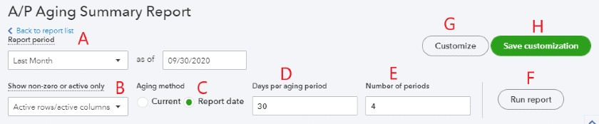 Set Basic Options for the Accounts Payable Aging Report