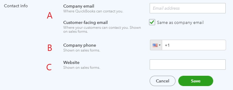 Contact Information in QuickBooks Online