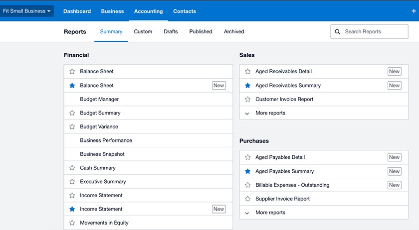Screenshot of Xero's Easy-to-Use Reporting Tools