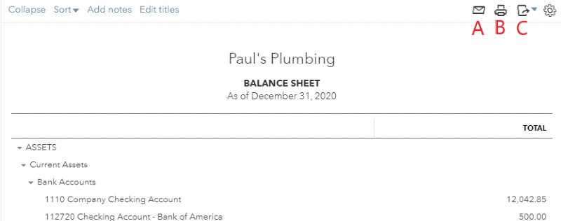 Email, Print, or Export Your Report in QuickBooks Online