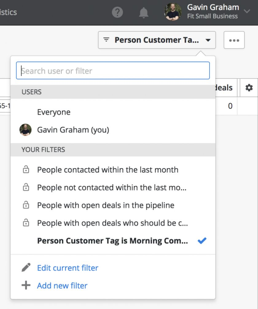 Filtering customer types in Pipedrive