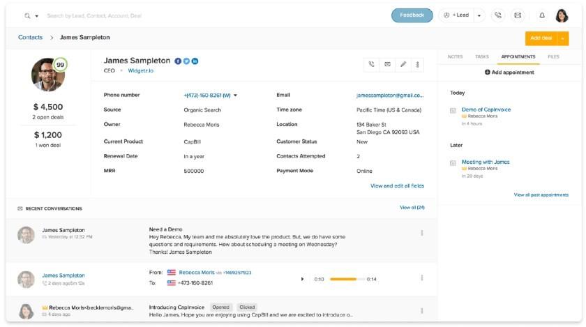 Freshworks CRM contac_management dashboard
