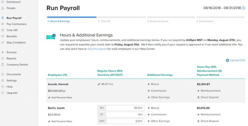 Gusto run payroll sample