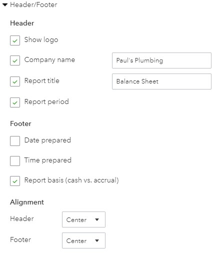 Header and Footer Balance Sheet Options in QuickBooks Online