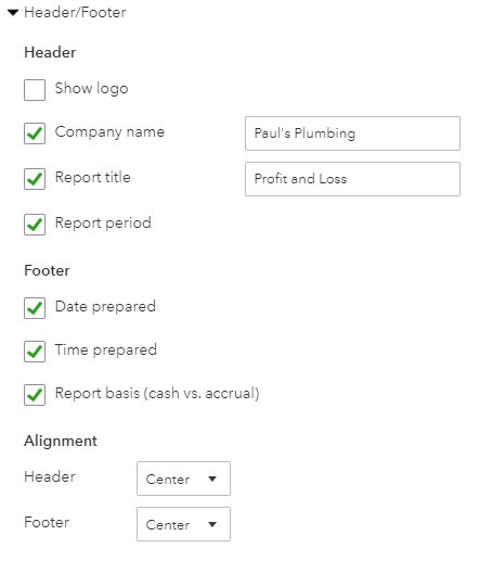 Header and Footer Report Options in QuickBooks Online