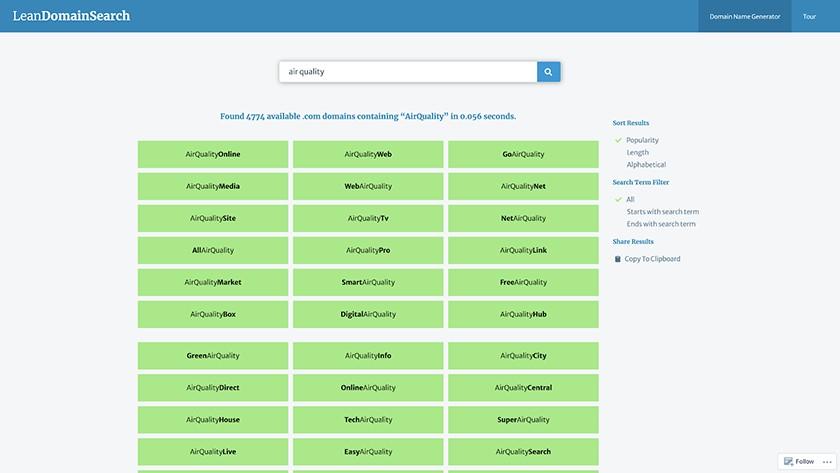 Lean Domain Search domain name generator screenshot