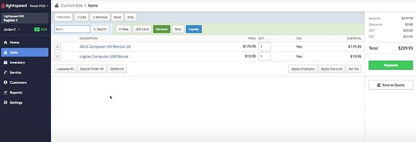 Screenshot of Lightspeed's current sale dashboard