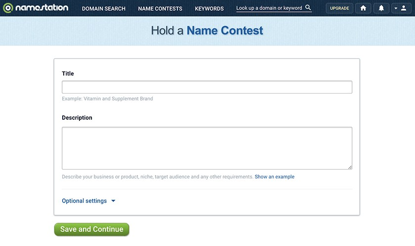 NameStation's name contest submission form screenshot