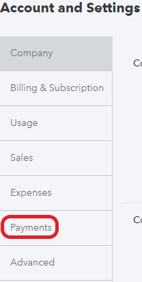 Payments settings in QuickBooks Online