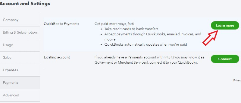 QuickBooks Payments Application in QuickBooks Online