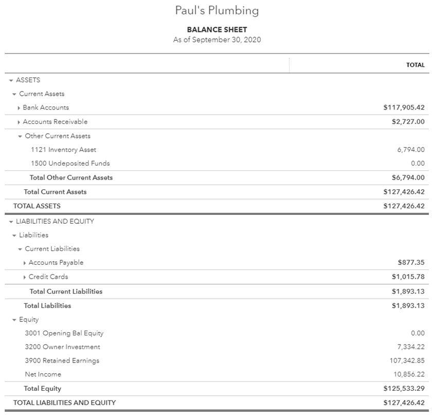 QuickBooks OnlineBalance Sheet Report sample
