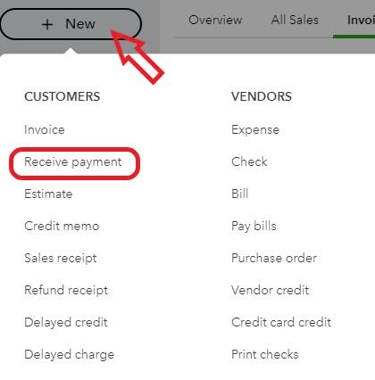 Receive Payment Screen in QuickBooks Online