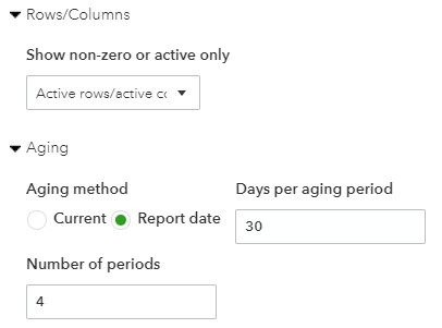 Rows/Columns and Aging Options for the Payables Aging Report