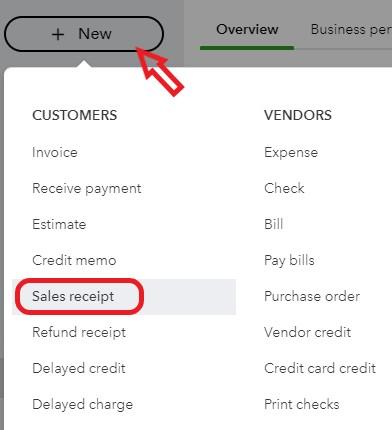 Sales Receipt in QuickBooks Online