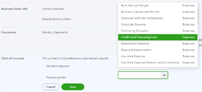 Record Credit Card Processing Fees