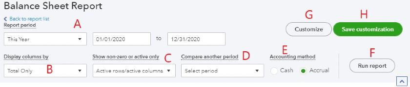 Basic Options for the QuickBooks Balance Sheet