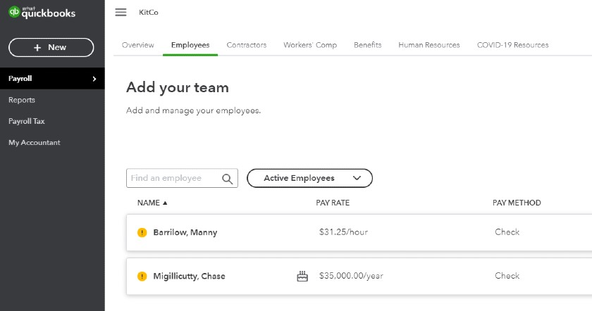 Screenshot of Adding Employees on QuickBooks