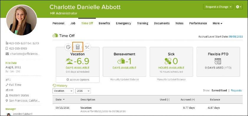 Screenshot of BambooHR Employee Interface
