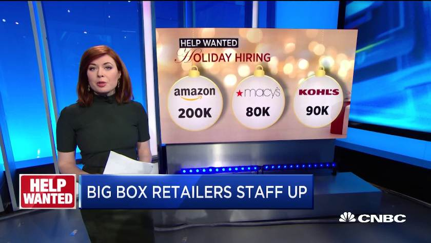 Screenshot of CNBC Holiday Hiring News