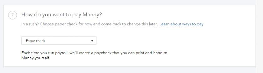 Screenshot of Choosing Paper Checks