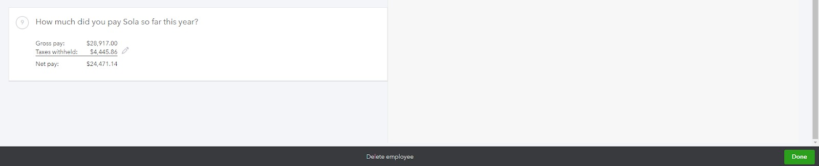 Screenshot of Completing Input on QuickBooks