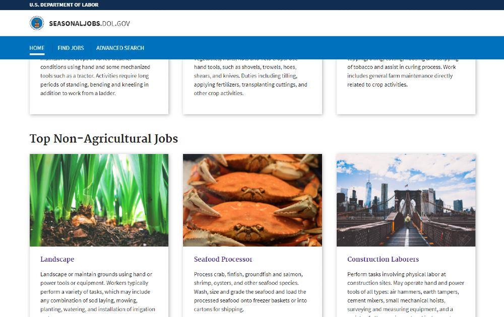 Screenshot of DOL Seasonal Jobs Landing Page