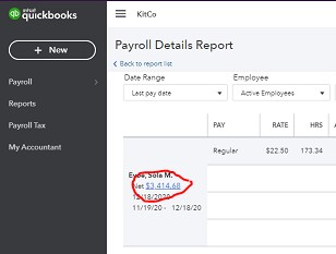 Screenshot of Drilling Down in Reports on QuickBooks