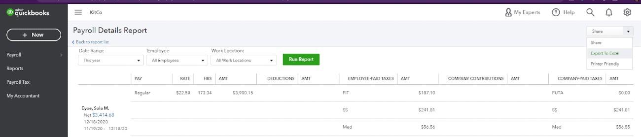 Screenshot of Exporting Report on QuickBooks