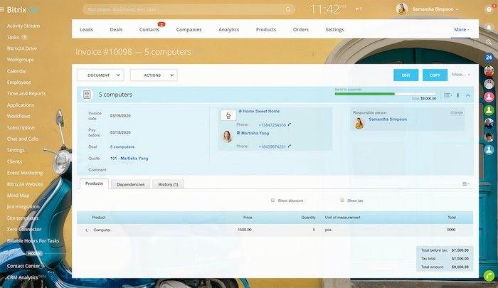 Screenshot of Invoicing in Bitrix24