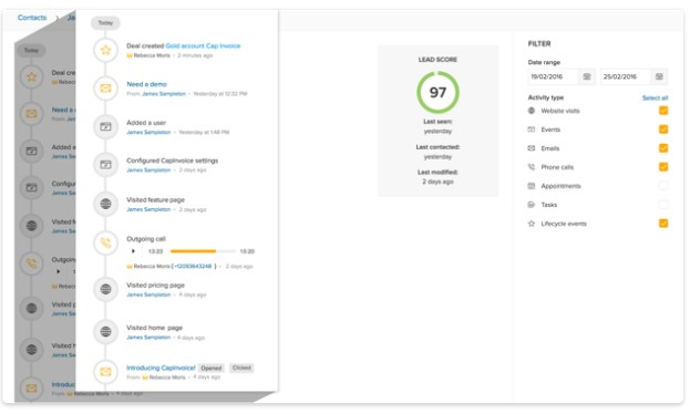 Screenshot of Lead Score Filter
