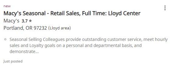 Screenshot of Macys Seasonal Retail Sales