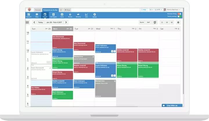 Screenshot of MassageBook Scheduled Bookings