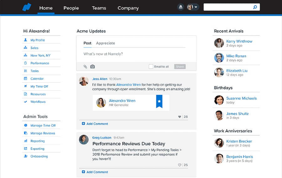 Screenshot of Namely User Interface
