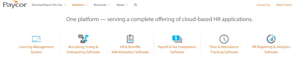 Screenshot of Paycor Providing Integrated Apps for Businesses