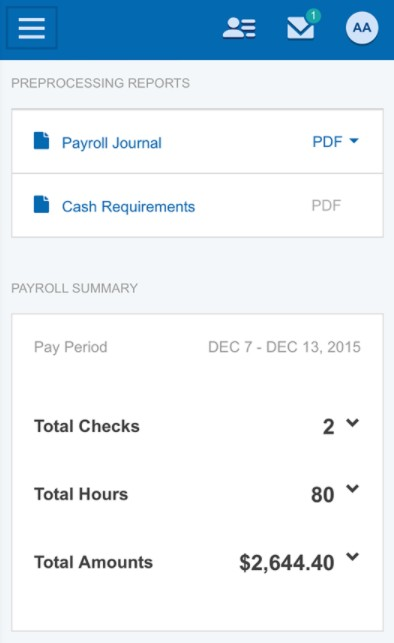 Screenshot of Payoll on Paychex Flex App